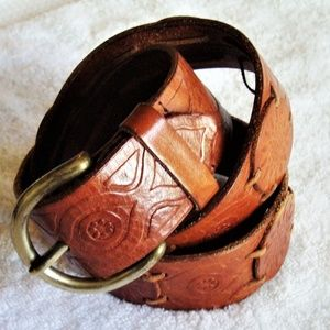 Fossil Brown Tooled and Applique Leather Belt